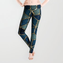 Shades Of Turquoise Green & Blue Cubes Pattern Leggings