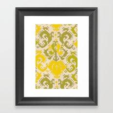 pixel floral neon yellow/green Framed Art Print