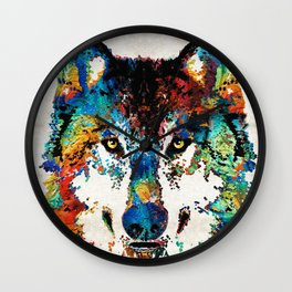 Wolf Art Print - Hungry - By Sharon Cummings Wall Clock