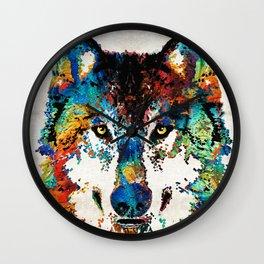 Wolf Art Print - Hungry - By Sharon Cummings Wall Clock