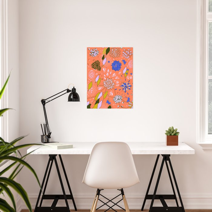 Orange Flower Pattern Poster