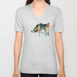 Dairy Cow - Feeling Blue - Watercolor Painting Unisex V-Neck