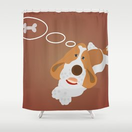 Dog dreaming about bonelet Shower Curtain