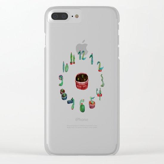 cactus clock Clear iPhone Case