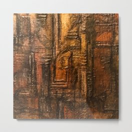 Rich Brown Bronze Heavy Textured Acrylic Painting Metal Print