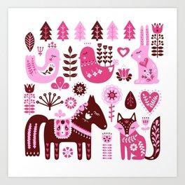 Raspberry And Cream Scandinavian Folk Art Forest Friends Art Print