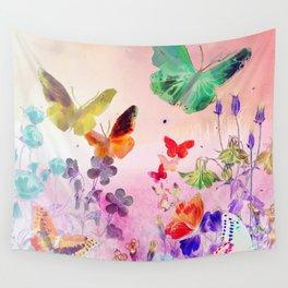 Blush Butterflies & Flowers Wall Tapestry