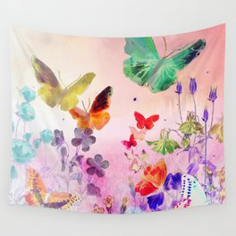Blush Butterflies & Flowers Wall Tapestry