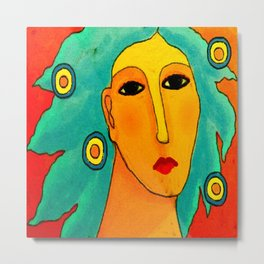 Woman with Aqua Hair Abstract Digital Portrait Metal Print