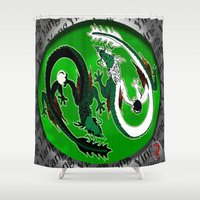 ying yang Shower Curtains featuring ying yang by Nerd Artist DM