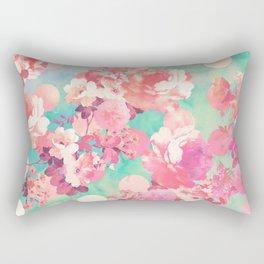 Romantic Pink Retro Floral Pattern Teal Polka Dots Rectangular Pillow