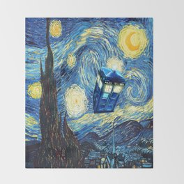 Soaring Tardis doctor who starry night iPhone 4 4s 5 5c 6, pillow case, mugs and tshirt Throw Blanket