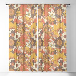 Retro 70s Flower Power, Floral, Orange Brown Yellow Psychedelic Pattern Sheer Curtain