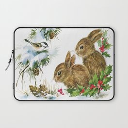 Vintage Christmas Bunnies Laptop Sleeve