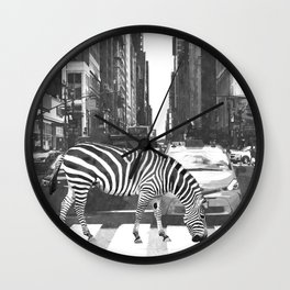 Black and White Zebra in NYC Wall Clock