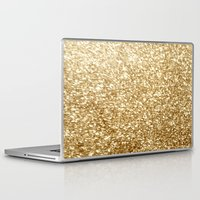 gold glitter Laptop & iPad Skins featuring Gold glitter by Masanori Kai