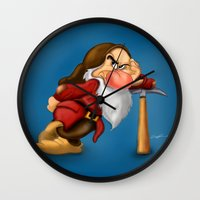 grumpy Wall Clocks featuring Grumpy by Ricky_Disneyart