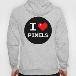 I Love Pixels, Pixel Heart, nerd sticker, geek sticker Hoody