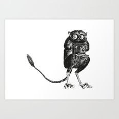 Say Cheese!   Tarsier with Vintage Camera   Black and White Art Print