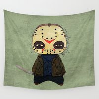 actor Wall Tapestries featuring  A Boy - Jason ( Friday the 13th) by Christophe Chiozzi