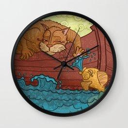 """""""Hemingway's Cat"""" Wall Clock"""