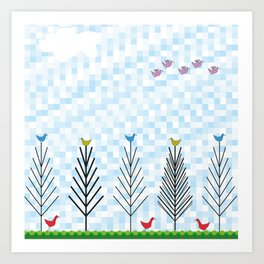 Treetop Birds Art Print