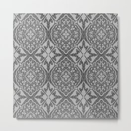 BOHEMIAN PALACE, ORNATE DAMASK: GRAY on GRAY Metal Print
