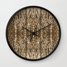 198 - Sepia gold sequins design Wall Clock
