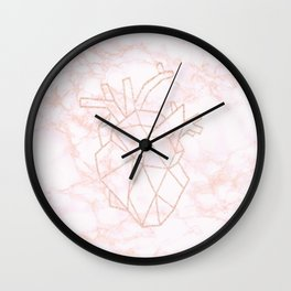 peach and blush marble with rose gold heart Wall Clock