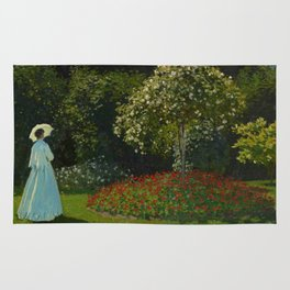 Lady in the garden Rug