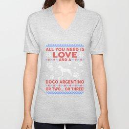 Dogo Argentino Ugly Christmas Sweater Unisex V-Neck
