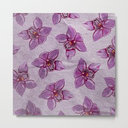 Orchids Pattern Metal Print