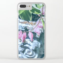 Soft Pink Bleeding Hearts Clear iPhone Case