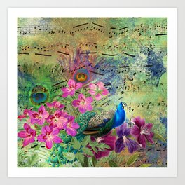 Elegant Peacock Image and Musical Notes Art Print