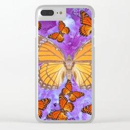 Orange Mariposas (Monarch Butterflies) on Lilac Color clouds Clear iPhone Case