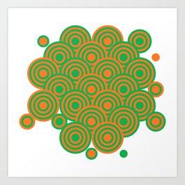 op art pattern retro circles in green and orange Art Print