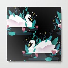 Swan print Metal Print
