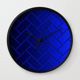 Herringbone Gradient Dark Blue Wall Clock