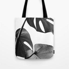 Tropical leaves monochrome Tote Bag
