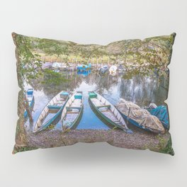 Boats moored in a harbour of the Ticino river Pillow Sham
