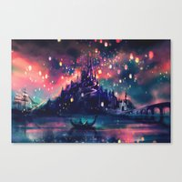 watercolor Canvas Prints featuring The Lights by Alice X. Zhang
