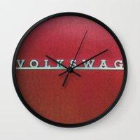 volkswagen Wall Clocks featuring VolkSWAGen by Ren Davis