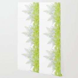 PALE GREEN & GREY ABSTRACT WOODLAND FERNS ART Wallpaper