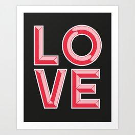 LOVE - Beveled Typography Art Print