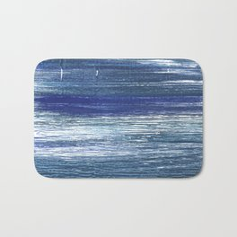 Metallic blue abstract watercolor Bath Mat