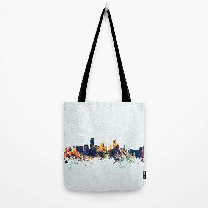 Miami Florida Skyline Tote Bag
