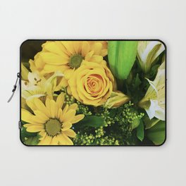 Yellow Roses, Daisies and Lilies Floral Bouquet Laptop Sleeve