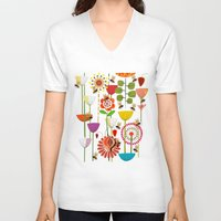 bees V-neck T-shirts featuring WHERE THE BEES FLY by Chicca Besso
