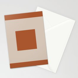 Simple Double Framed Square Pattern in Clay and Putty Stationery Cards