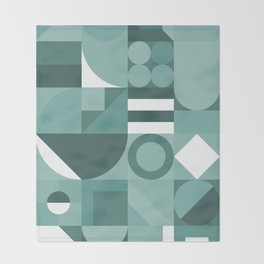 Modern geometric graphic art teal Throw Blanket